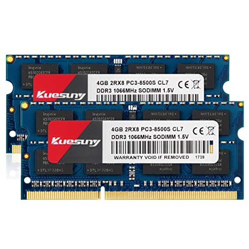 Kuesuny 8GB Kit (4GBX2) DDR3 1066MHZ SODIMM RAM, PC3 8500 / PC3 8500S 204 Pin 1.5V CL7 Non-ECC Unbuffered 2RX8 Dual Rank for Laptop Notebook ()