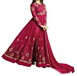 Ethnic Yard Maroon Faux Georgette Women's Semi-Stitched Salwar Suit Set (F1130_Free Size)