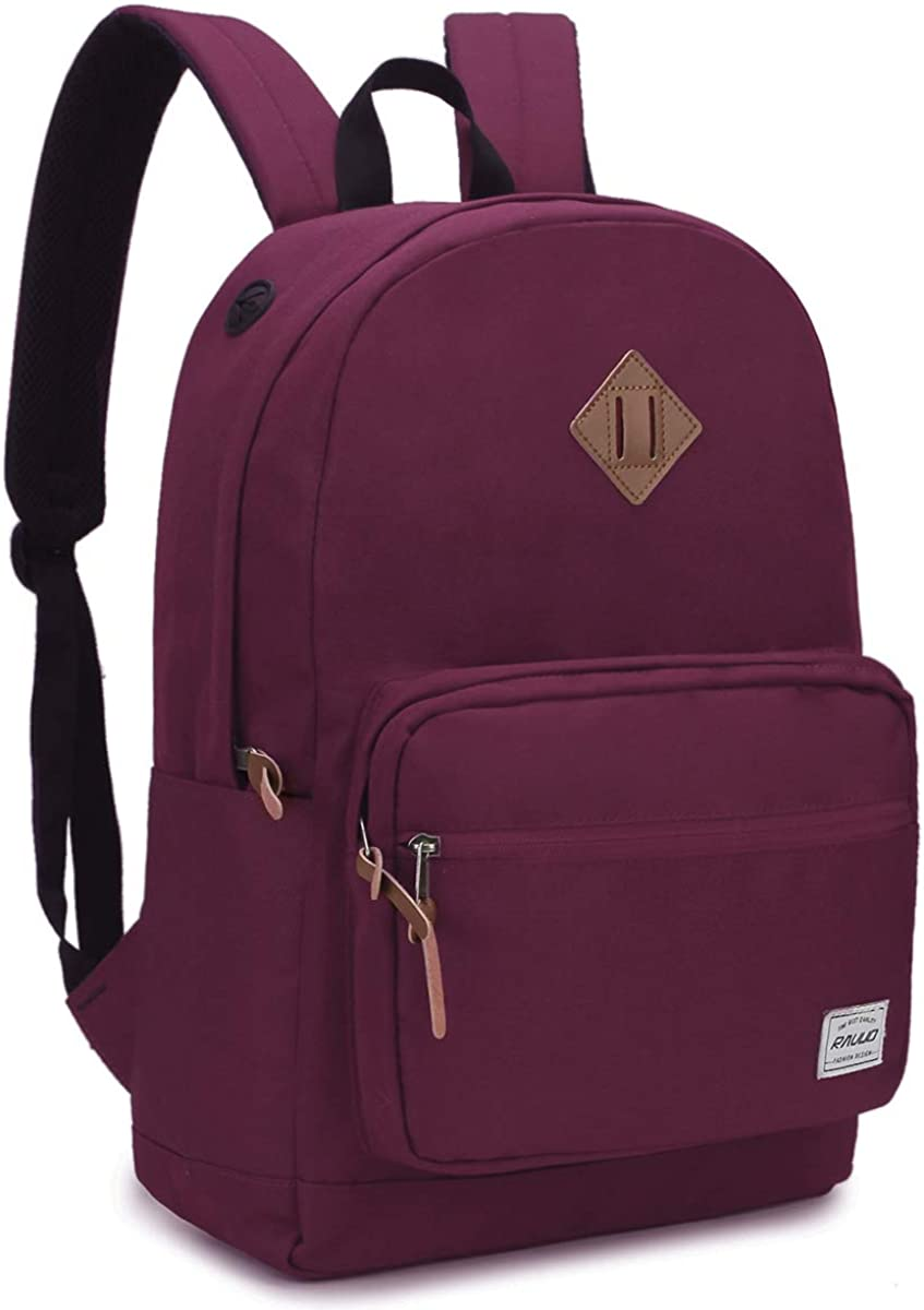School Backpack,RAVUO Water Resistant Unisex Classic Basic Backpack Bookbag Fits 15.6 inch Laptop
