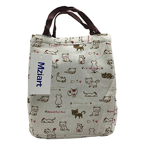 Cute Lunch Bag Reusable Lunch Tote Bag Insulated Cooler Bag Handbag with Velcro Closure for Adults Men Women Kids Work Travel Picnic - Cat Purse Favorite