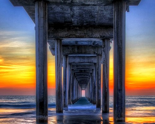 San Diego Art Ocean Pier Sunset Fine Art Photograph Beach Wall Décor Coastal Nautical Wall Art Extra Large Wall Art Living Room Family Room Office Wall - Gift La Shops Jolla
