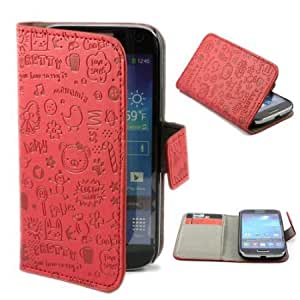 Viesrod Cartoon Lovely Leather Flip Case Cover for Samsung Galaxy S4 Mini i9190 Red + 1 Gift
