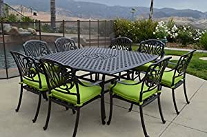 "Elizabeth Outdoor Patio 9 pcs Dining Set Square Table 64"" Dark Bronze Cast Aluminum"