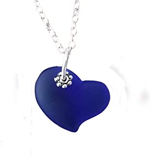 "product image for Handmade in Hawaii, Cobalt Sapphire blue heart sea glass necklace,""September Birthstone"", (Hawaii Gift Wrapped, Customizable Gift Message)"