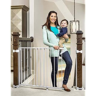 Regalo Extra Tall and Wide 2-in-1 Stairway and Hallway Wall Mounted Baby Gate, Bonus Kit, Includes Banister and Wall Mounting Kit (.1 Pack (White)
