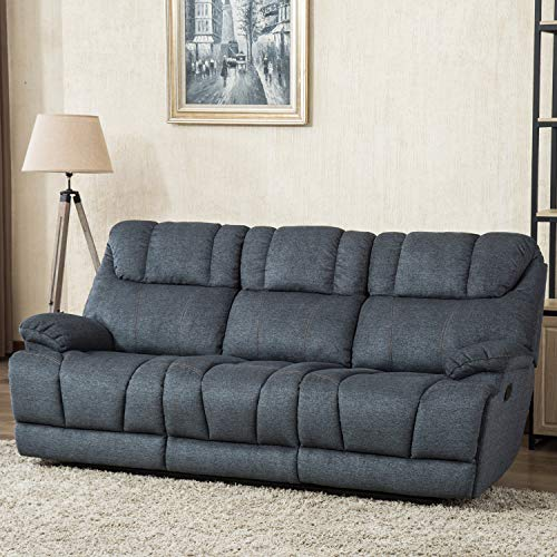 CANMOV Reclining Sofa, Microfiber Fabric Living Room Chair, Manual Recliner Sofa (3 Seater) with Padded Headrest and Back, Blue
