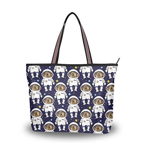 Black Astronaut Dog Women Large Travel Tote Work Tote Shoulder Bag ()