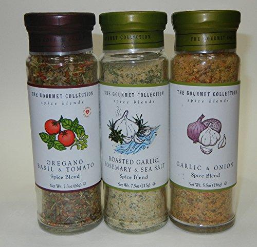 The Gourmet Collection Spice Blend, 3 bottle set, Oregano, Basil & Tomato Spice Blend; Roasted Garlic, Rosemary, Sea Salt; Garlic & Onion Spice Blend