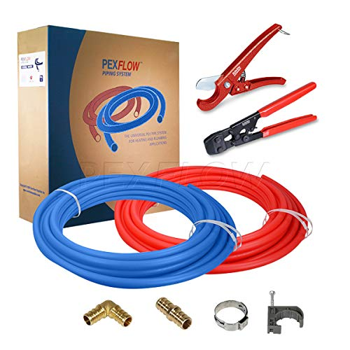 Pexflow PXKT10012 Starter Kit for 1/2-In Pex with Crimper & Cutter Tools - Set includes Brass Elbow & Coupling Fittings, Cinch Clamps, Half Clamps, and 2 Rolls of 1/2-In X 100ft PEX Tubing ()