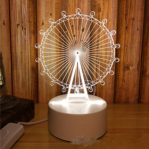 (3D Cartoon LED Night Light Table Lamp Decor Creative Baby Bedroom Bookshelf Decoration Gift Table Light Crafts (Ferris Wheel))