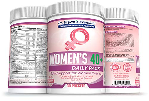 Women s Over 40 Daily Pack Vitamins Minerals, 42 Fruits and Vegetables, Digestive Enzymes, Spirulina, Wheat Grass, Fish Oil, Probiotics, Green Tea, Echinacea, Fiber, Kelp, Resveratrol, Wild Yam Plus