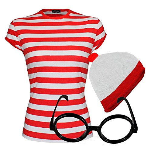 Girls Red & White Striped Cap Sleeve T-Shirt Hat Glasses#(Red and White Cap Sleeve Shirt+Hat+Glasses#5-6 (Red And White Striped Shirt Costume)