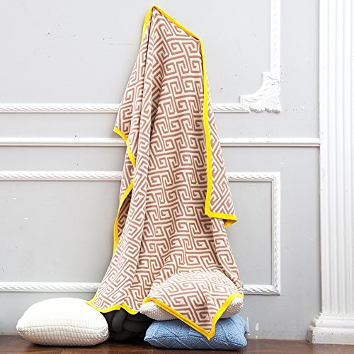 Choice Yarn Mustard - dream_home Crocheted Blanket Handmade Super Soft Warm Cotton Knitting Throw Sleeping Cover, Blanket Rug for Kids or Adults 47 x 63 Inch, Khaki