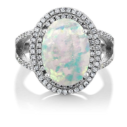 Gem Stone King 6.64 Ct Oval Cabochon White Simulated Opal 925 Sterling Silver Ring Available 5,6,7,8,9