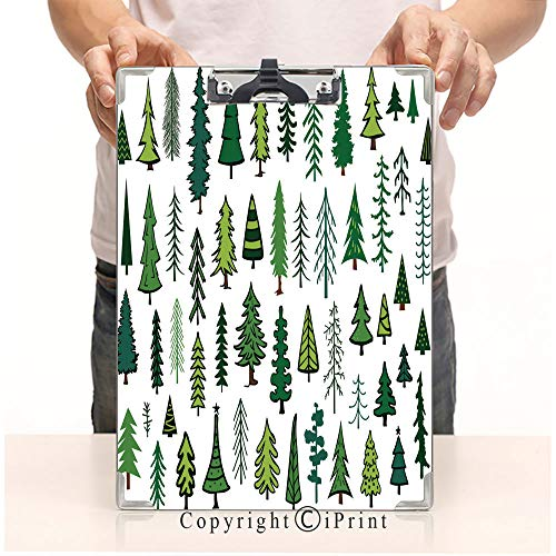 A4 File Folders Standard Size Clipboards CartoonPrint Clipboards Office Document,Cute Abstract Conifer Evergreen Pine fir Christmas Needle Trees Collection