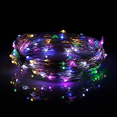 MUCH Multicolor Color LED String Lights, Outdoor Lights Starry Lights with 33ft l00 Leds Coppoer Wire, Ropes Light for Christmas, Holiday, Wedding, Party