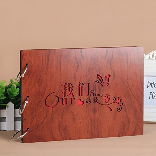 DIY Scrapbook, 10 Inch Wooden Cover Photo Album, Anniversary Memory Book, Wedding Guest Book, Gift (Our Story)