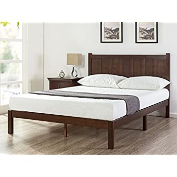 Zinus Wood Rustic Style Platform Bed With Headboard / No Box Spring Needed  / Wood Slat