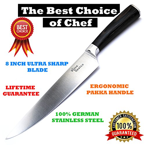 SliceDevice - 8 Inch Professional Chef Knife - Best Cutting