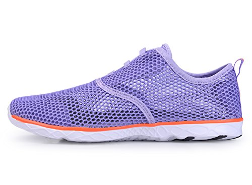 KALEIDO Damen Atmungsaktive Mesh Slip On Walking Casual Wasserschuhe 03purple2
