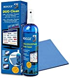 Screen Cleaner ROGGE DUO-Clean - Streak-Free, Antibacterial, Antistatic - For all Phone, TV, Computer and Touch Screens - 8.4 FLOZ Cleaning Spray + Extra Large Microfiber Cloth