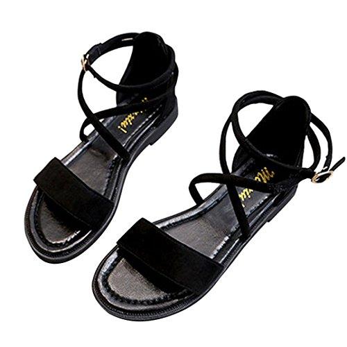 Transer® Damen Flach Ankle-strap Sandalen Leder+Gummi Schwarz Kreuzgürtel  Sandalen ... 88a949a05a