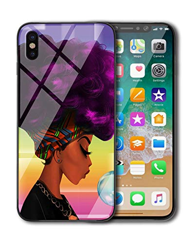 (KITATA iPhone Xs Max Case for Girls [Slim Fit], African American Women Afro Purple and Black Art Print Design, Shockproof Impact Resistant Drop Protection Protective TPU Silicone)