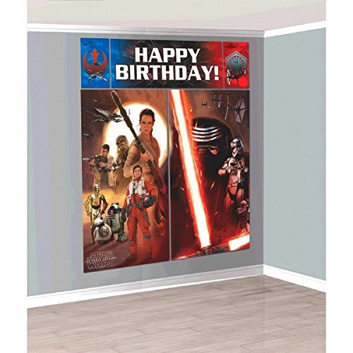 Star Wars The Force Awakens Scene Setter Wall Decorations Kit - Kids Birthday and Party Supplies Decoration