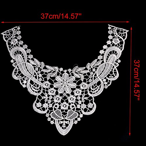 Kangnice 1PC Embroidered Floral Lace Neckline Neck Collar Trim Clothes Sewing Applique (13#)