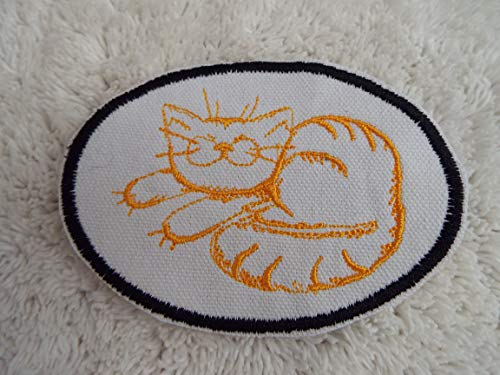 Orange Happy Tabby CAT Embroidered Iron-on Patch