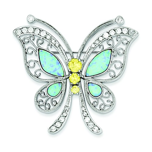 - Sterling Silver Created Opal with Yellow and Clear CZ Butterfly Pin