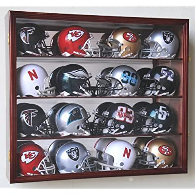 Image of 16 Riddell Mini Helmet Display Case Cabinet Wall Rack w/UV Protection & Mirror Back -Cherry