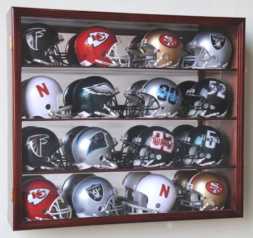 Riddell Mini Helmet Display Case Cabinet Wall Rack w/UV Protection & Mirror Back -Cherry ()
