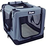 """Soft Dog Crates Kennel for Pets, Jespet 3 Door 26"""" Soft Sided Folding Travel Pet Carrier with Straps and Fleece Mat for Dogs, Cats, Rabbits"""