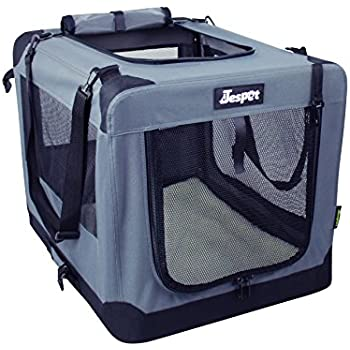 Soft Dog Crates Kennel for Pets, Jespet 3 Door Soft Sided Folding Travel Pet Carrier with Straps and Fleece Mat for Dogs, Cats, Rabbits