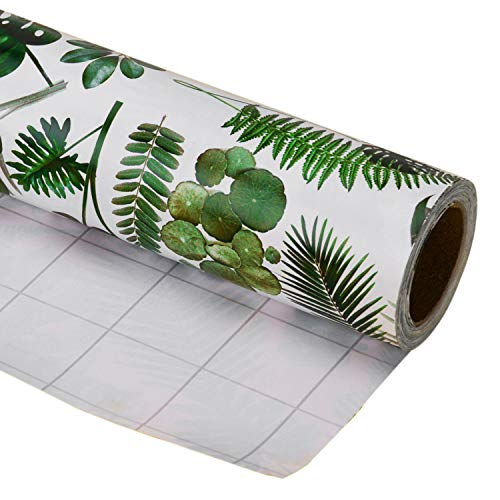 LaRibbons Gift Wrapping Paper Roll - Beautiful Banana Leaf Design for Birthday, Mother Day, Wedding, Holiday Gift Wrap - 30 inch x 32.8 feet (81.8 sq ft.) - Sold Individually