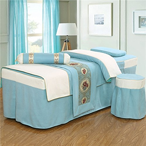 "Luxury Massage Table Sheet Set, 4 Pieces (Blue, 74""L*31″W*22″H)"