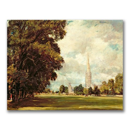 Salisbury Cathedral by John Constable, 35x47-Inch Canvas Wall Art