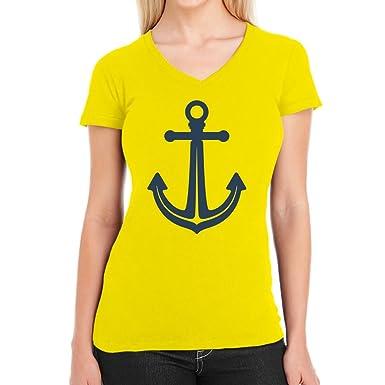 Der Anker - Das Original Super Trendy Damen T-Shirt V-Ausschnitt Small Gelb