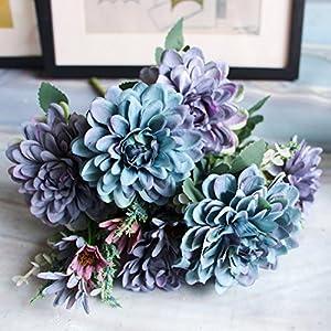 Ochine Artificial Flowers Fake Flowers 10 Heads Gerbera Daisy Flowers Marigold Bouquet for Home Garden Office Wedding Decor Pack of 1 74