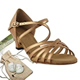 Women's Ballroom Dance Shoes Salsa Latin Practice Dance Shoes Copper Nude Leather S9216EB Comfortable - Very Fine 1.2'' Heel 9 M US [Bundle of 5]