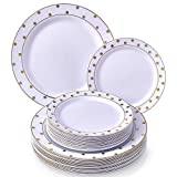 PARTY DISPOSABLE 40 PC DINNERWARE SET | 20 Dinner Plates | 20 Salad/Dessert Plates | Heavy Duty Disposable Plastic Dishes | Elegant Fine China Look | for Upscale Wedding and Dining (Dots– White/Gold)
