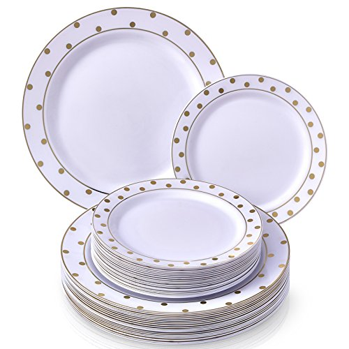 PARTY DISPOSABLE 40 PC DINNERWARE SET | 20 Dinner Plates | 20 Salad/Dessert Plates | Heavy Duty Disposable Plastic Dishes | Elegant Fine China Look | for Upscale Wedding and Dining (Dots– White/Gold) -
