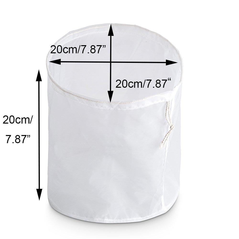 Awerise durable nylon cylinder big reusable soup bag, nut bean milk grass juice bag, wine brewing sprouting mesh strainer, raw food filter bag (20x20x20cm (1 us gallon))