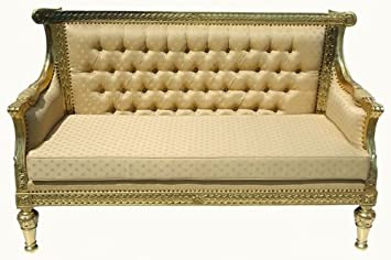 Mahogany GOLD Leaf Cream Chaise Lounge Sofa Settee