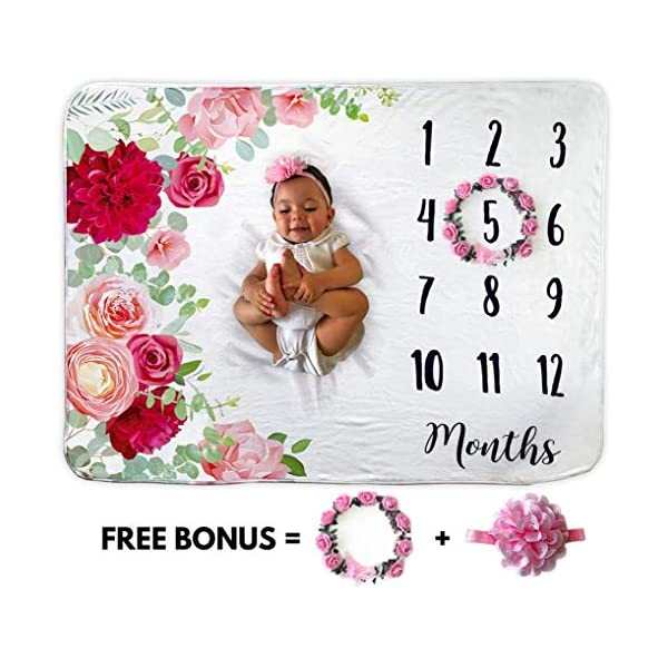 Baby Monthly Milestone Blanket | Includes Floral Wreath & Headband | 1 to 12 Months | 100% Organic Fleece Extra Soft | Best Baby Shower Gift | Photography Backdrop Photo Prop for Newborn | Baby Girl