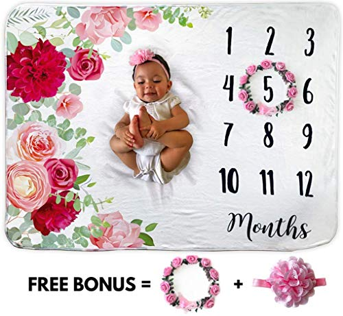 Baby Monthly Milestone Blanket | Includes Floral Wreath & Headband | 1 to 12 Months | 100% Organic Fleece Extra Soft | Best Photography Backdrop Photo Prop for Newborn | Baby Girl