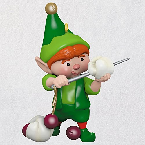 (Hallmark Keepsake Christmas Ornament 2018 Year Dated, North Pole Tree Trimmers Elf Stringing Popcorn)