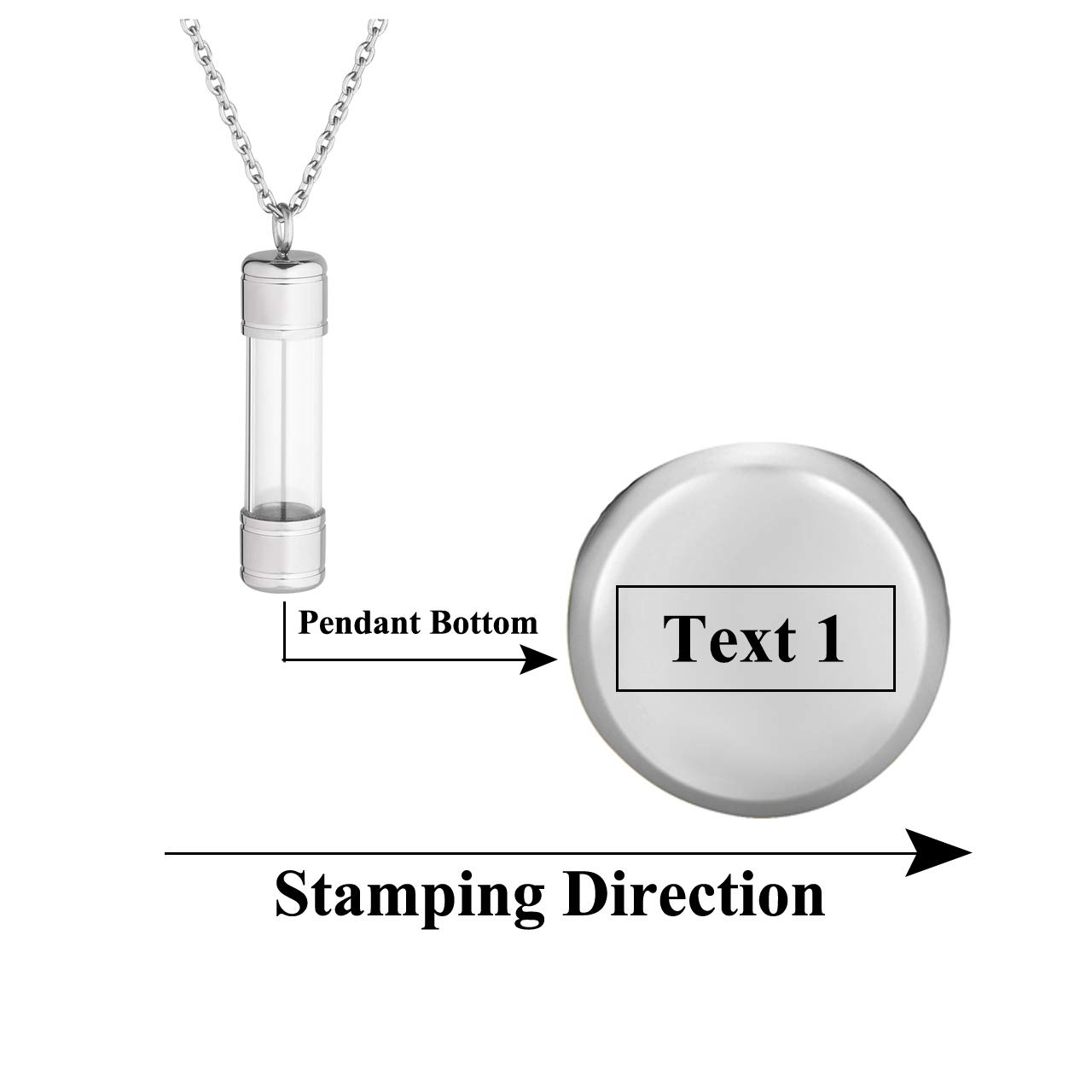 Zysta Customized Engraving Acrylic Cylinder Clear Locket Stainless Steel 24 inches Chain Necklace Memory Floating Keepsake Storage Bottle