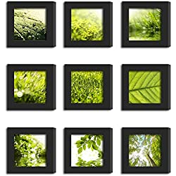 9Pcs 4x4 Real Glass Wood Frame Black Fit Family Image Pictures Photo (Window 3.6 x 3.6 inch ) Desktop Stand or Wall Hang Family Combine Square Green Forest Leaf Grass Landscape Decoration (19-27)